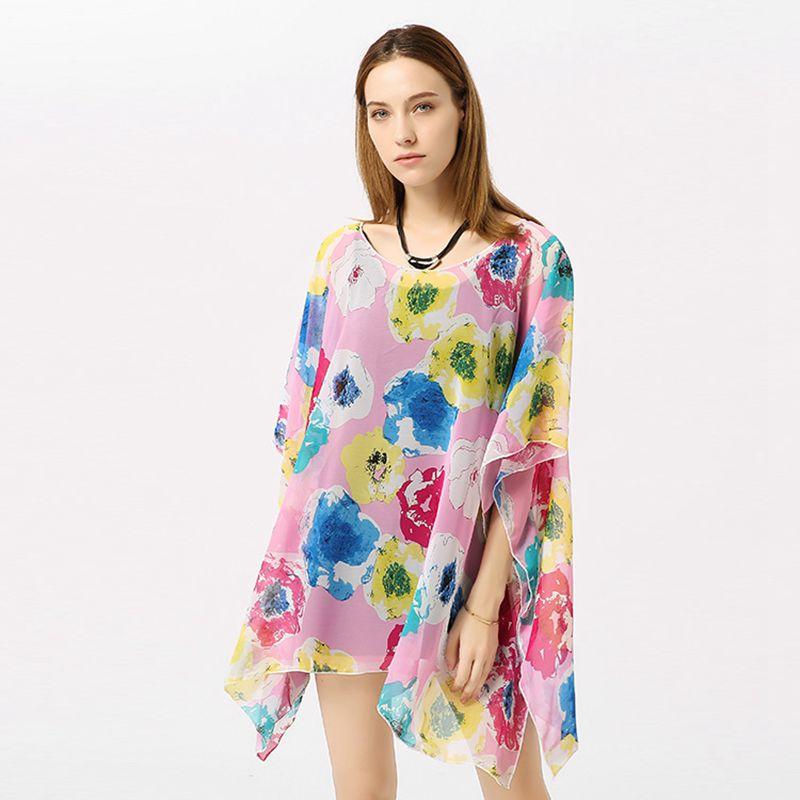 100x70cm Florals Print Sunscreen Chiffon Poncho Women Wrap Shawl Scarf Holiday Beach Scarves Overall For Bikini 2018 Summer SC17