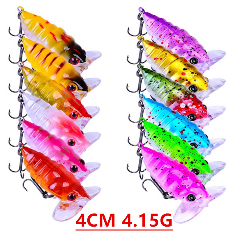 8PCS Lot 4cm//4.4g Insect Cicada Fishing Lure Crankbait Bass Topwater Hard Bait