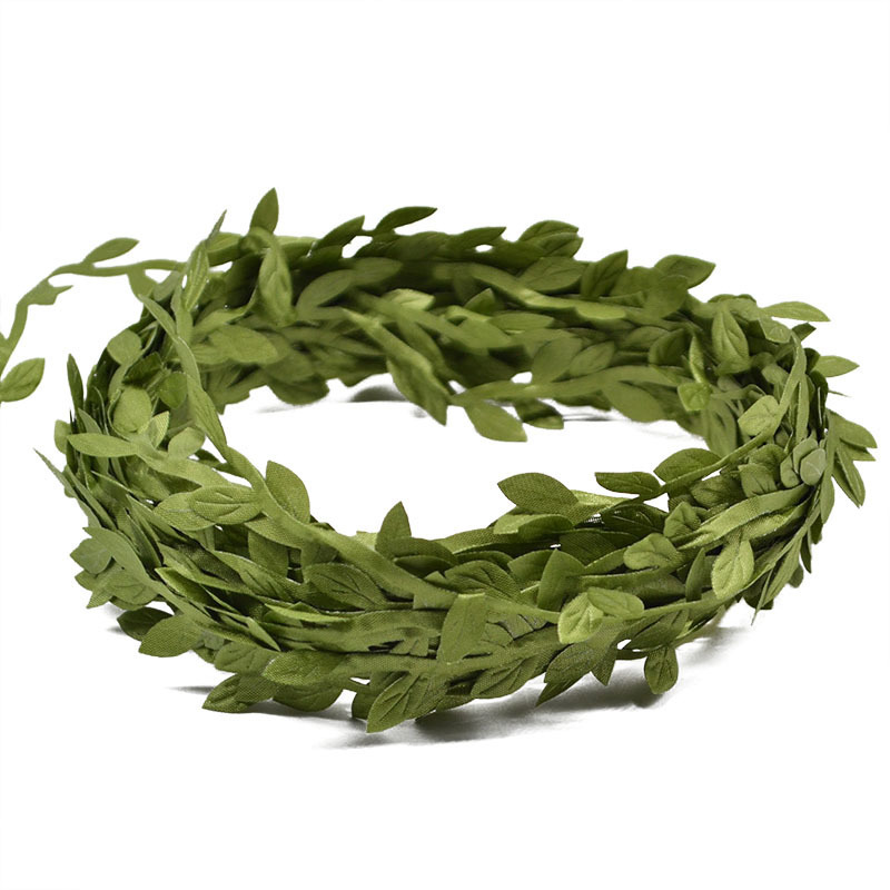 10 Meter Silk Leaf-Shaped Handmake Artificial green Leaves For Wedding Decoration DIY Wreath Gift Scrapbooking Craft Fake Flower D19011101
