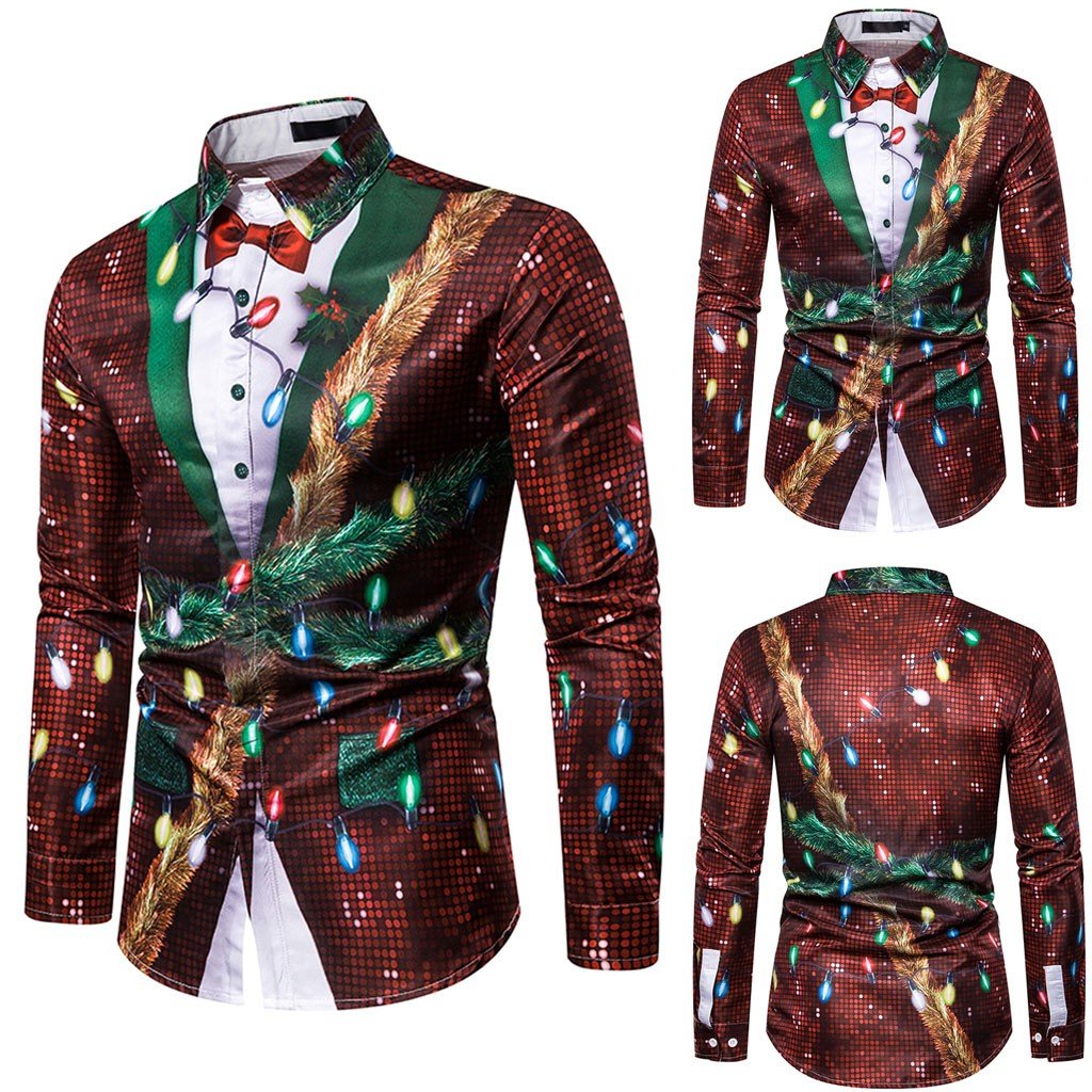 Mstyle Mens Round Neck Floral Printed Christmas Fashion Fake Two Pieces Long Sleeve Blouse Tunic Tops Men Clothing