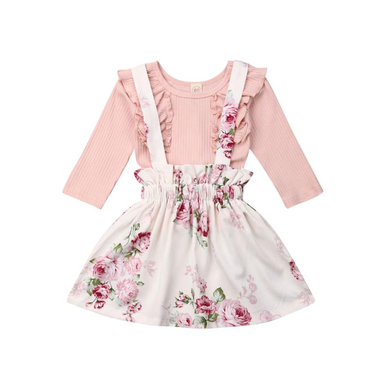 Toddler Baby Girl Ruffle Sleeve T-Shirt Floral Overall Dress 2Pcs Clothing Sets