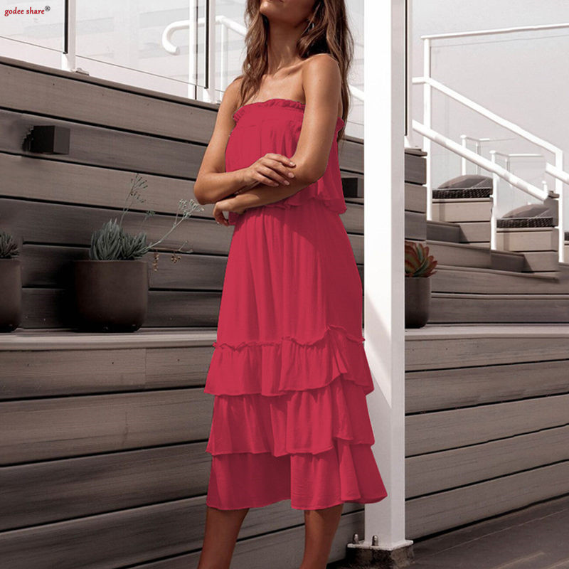 Summer Women Outfit Two Pieces Set Tank Top & Cake Skirt Solid Slash Neck Strapless Sexy Female Clothing Sets Women Clothes