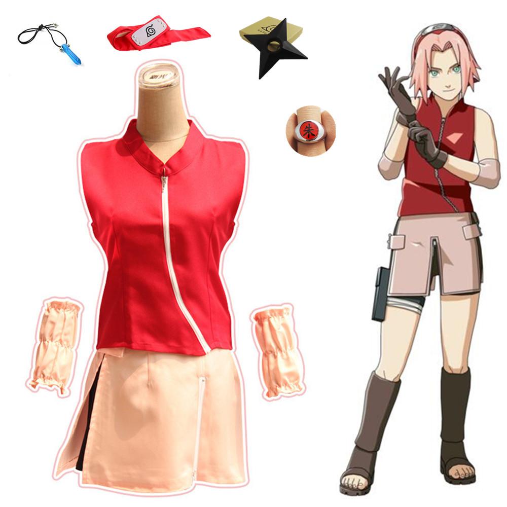 Track NARUTO Haruno Sakura Pink Anime Cosplay Costume Wig Free CAP