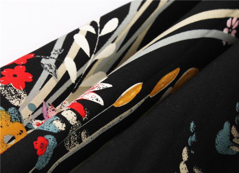 Kostlish Retro Print Flower Summer Skirts Womens High Waist Vintage Skirt Elegant A-Line Midi Women Skirt Plus Size XXL 22 (22)