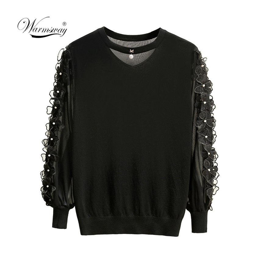 2019 Spring Autumn Women Knitted Slim Sweaters Chiffon Flower Beading Patchwork Sleeve Female Woman Casual Jumper Tops B-026