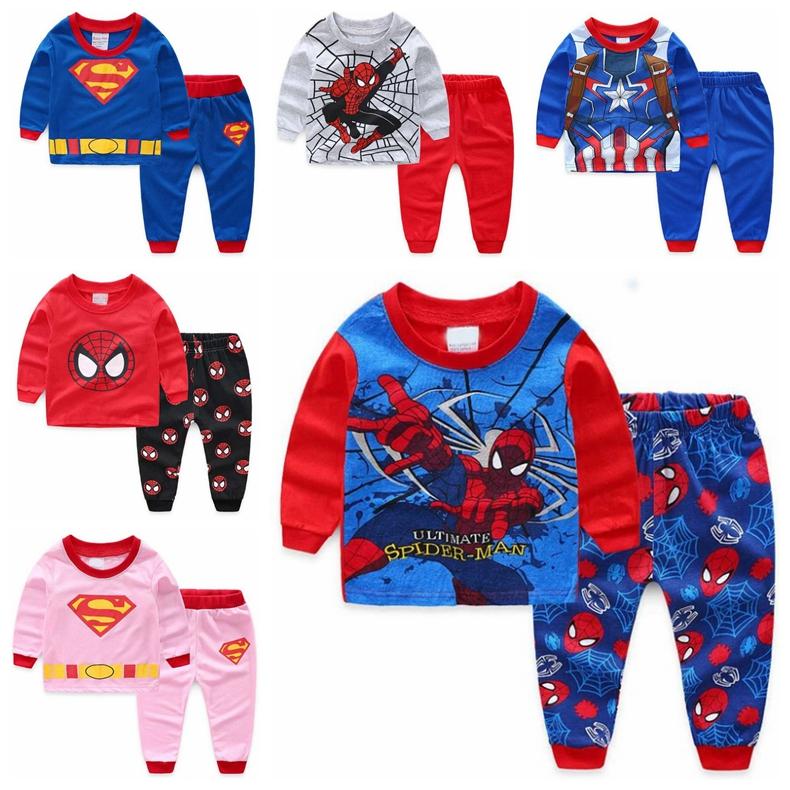 Homewear Pajamas Set Little Boy 2 PC Set 1-7T Long Sleeve Cartoon Cars Blouse T-Shirt and Pants Sleepwear Outfit