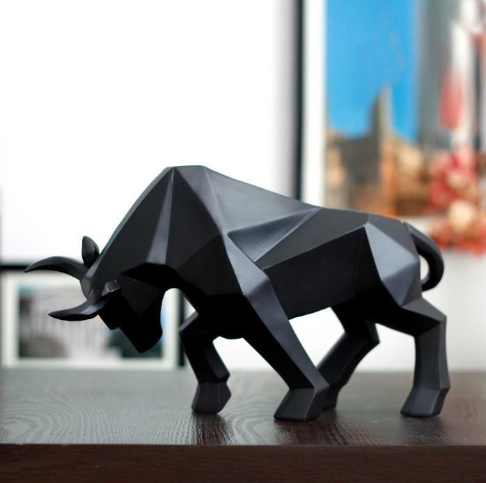 Geometric Cattle Statue Ox Bull Sculpture Ornament Abstract Animal Figurines Room Desk Decor Home Decoration Accessories Morden J190712