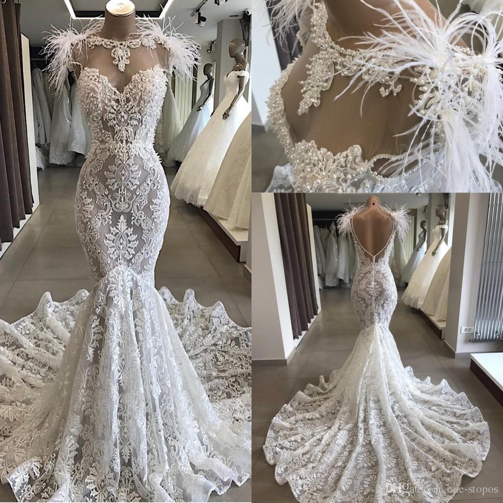 Neueste reizvolle Fill-Spitze-Nixe Hochzeitskleid Weinlese-böhmische  Strand-Brautkleid mit Federn plus Größe nach Maß