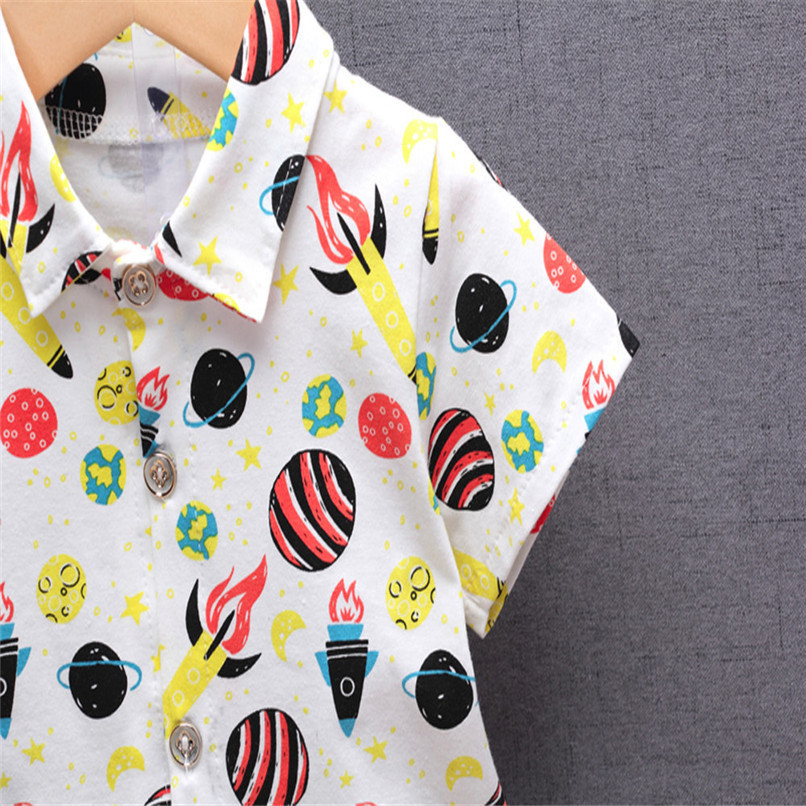 2PCS Baby Boys Sets Newborn Infant Baby Boys Short Sleeve Rocket Print T-shirt Tops+Denim Pants Sets Baby Boys Clothes M8Y16 (10)