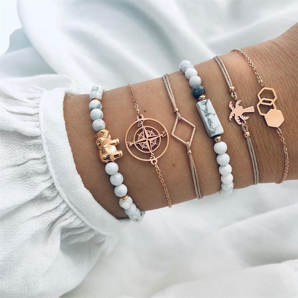 1 Set bohème en cuir PU élégant Casual Wear Fashion bracelet pour hommes