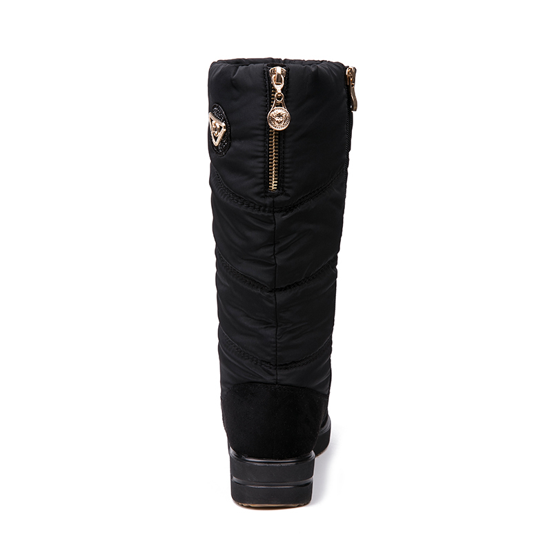 IMG_3951AIMEIGAO New Arrival Warm Fur Snow Boots Women Plush Insole Waterproof Boots Platform Heels Mid-calf Black Boots High Quality