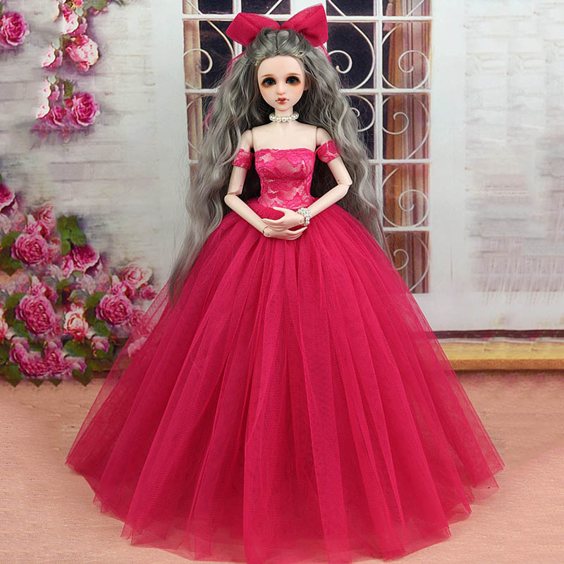 High Quality Dress & Veils Wedding Dress for 1/4 BJD Doll Clothes Evening Gown Party Clothes for 45-50cm XINYI Doll Outfits