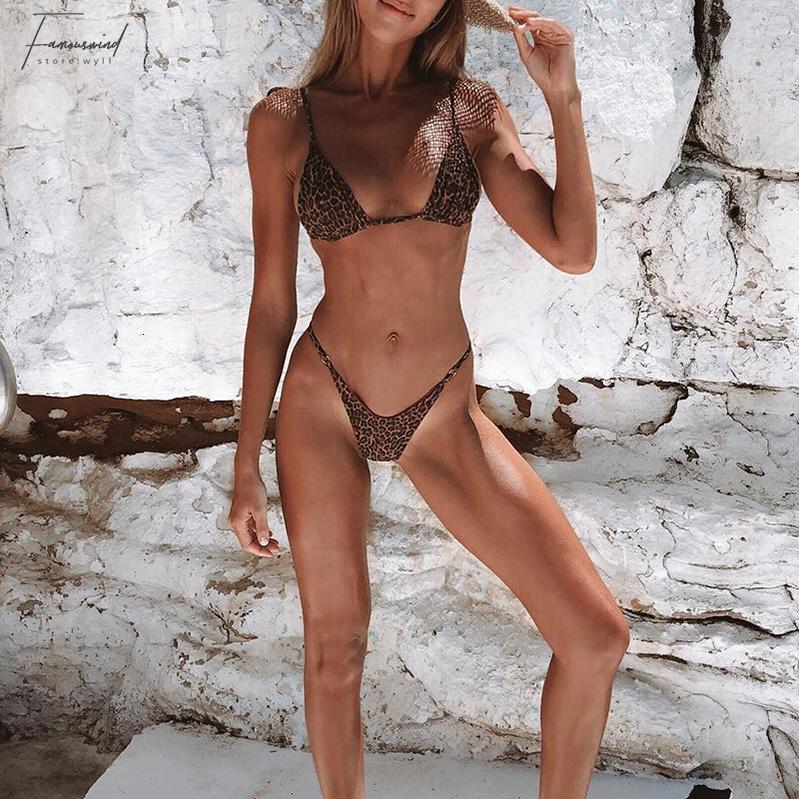 Triangle String Sexy Swimwear Leopard Micro Suit Push Up Women Print Swimsuit Female Brazilian Thong Bikini 2019