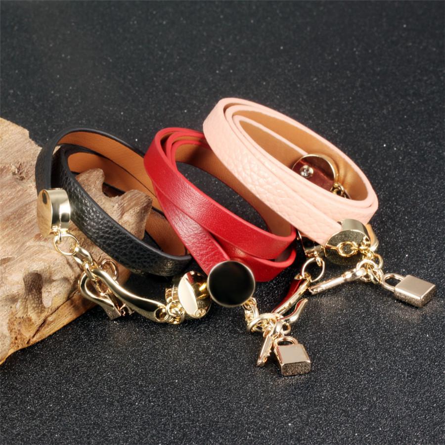 Personality Handmade Woman Wrap Bracelets New Fashion Leather + Stainless Steel Lock Key Pendant Women Jewelry Accessories