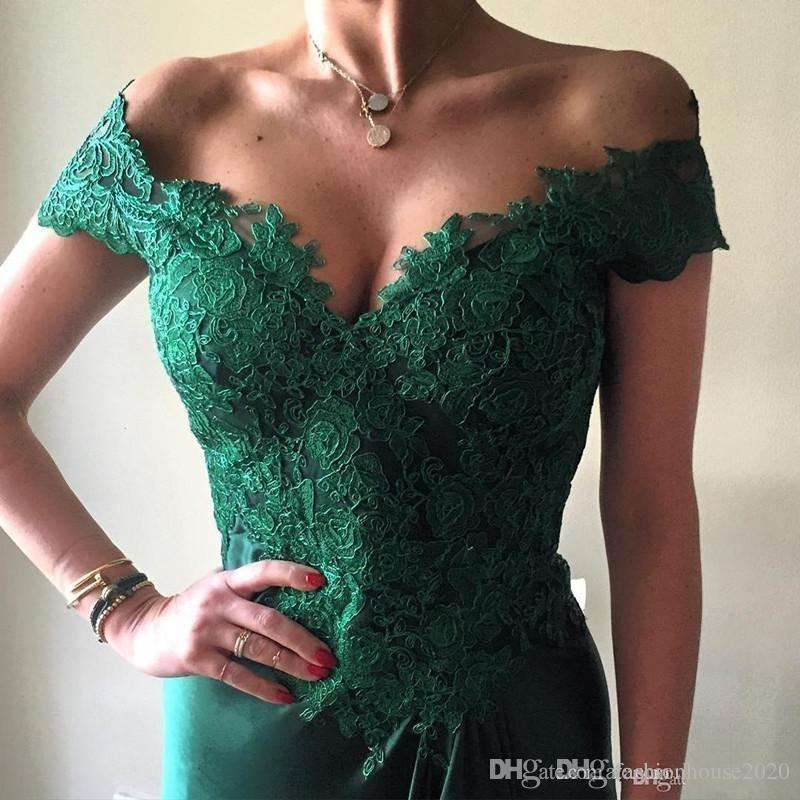 2018 Cheap Sexy Prom Dresses Off Shoulder Cap Sleeves Hunter Green Lace Appliques Side Split Open Back Long Formal Party Dress Evening Gowns