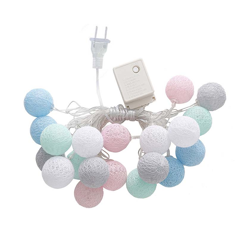 3M//20 LED Colorful Cotton Ball LED String Christmas Wedding Party Fairy Lights z