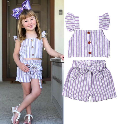 Cyhulu Newborn Infant Baby Girls Fly Sleeve Solid Party Birthday Summer Causal Dresses Outfits Set
