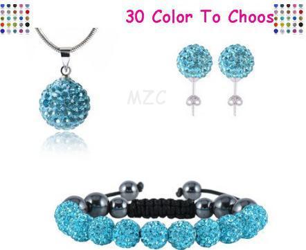 10mm crystal clay hotslae new arrival disco bead Rhinestone Set bracelet necklace studs earrings jewelry set hot sale