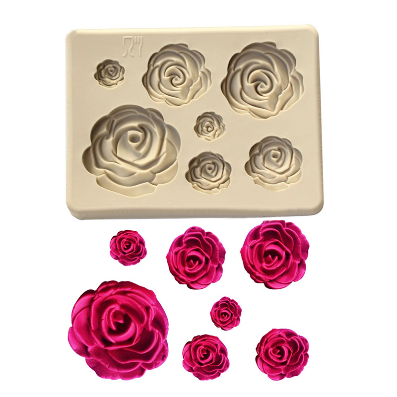 Cake Mold Roses Collection Fondant Candy Silicone Mold for Sugarcraft Cake Decoration Cupcake Topper Polymer Clay Soap Wax Making Crafting Projects