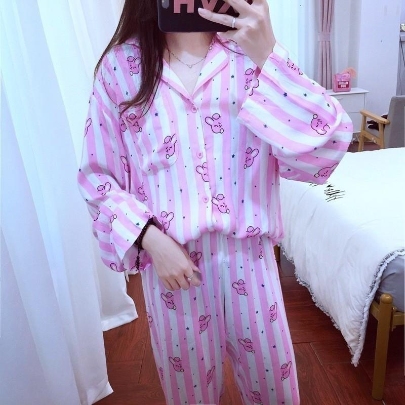 2STÜCKE Frauen Langarm Pyjama Set Lose Nachtwäsche Nachtwäsche Lässige Home Suit