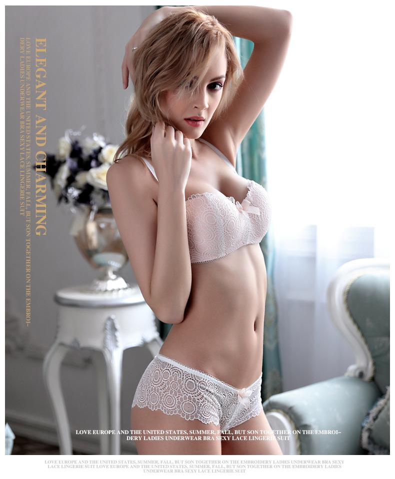 Jerrinut Sexy Lace Lingerie Set Women Underwear Seamless Push Up Bra Set Embroidery Ultra-thin Panties And Bra Set 21