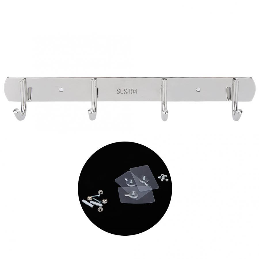 Acciaio inossidabile 4 ganci a parete appendiabiti Cappello Bagno asciugamano appeso gancio Home Organizer Bagno Rack