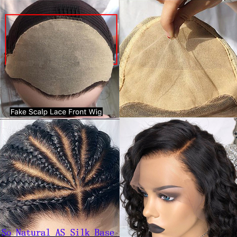 Pelucas de cabello humano corto para las mujeres Negro falso cuero cabelludo ondulado Bob peluca 13x4 sin cola completa del cordón del frente peluca 130% brasileña peluca de encaje Remy Y190713