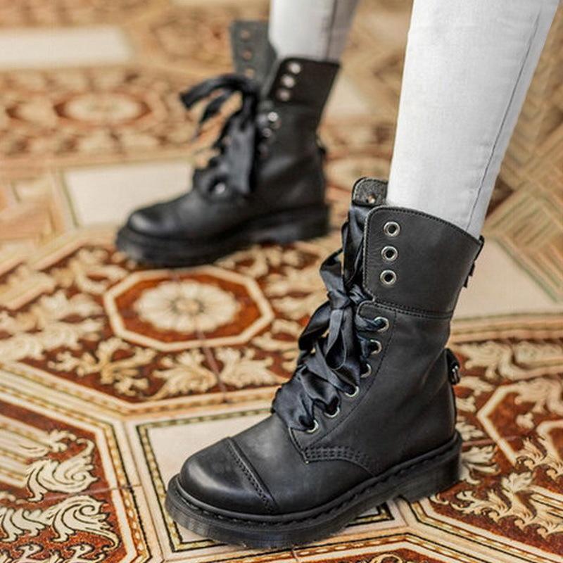 Stivali da donna Lasperal Martin Stivali da donna vintage con lacci retrò Stivali al polpaccio in pelle con lacci Plus Size 35-53