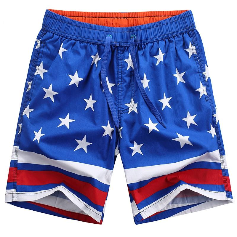 Quick-Dry Mens Beach Shorts American Flag Style USA Independence Day Swim Trunks with Adjustable Drawstring
