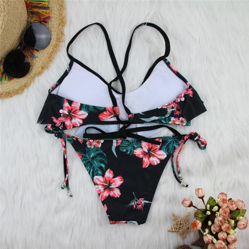 Two Pieces Women Swim Set Flower Padded Bra Beach Wear Women Bathing Lace Up Strap Sling Clothes Striped Set Sujetador 35JA24 (10)