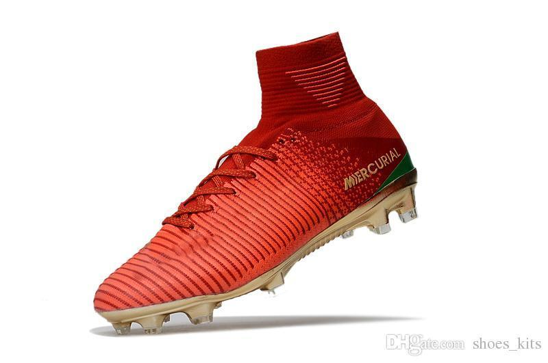 Original Red Gold CR7 Children Soccer Cleats Mercurial Superfly V CR7 FG Kids Soccer Shoes Ronaldo Womens Football Boots