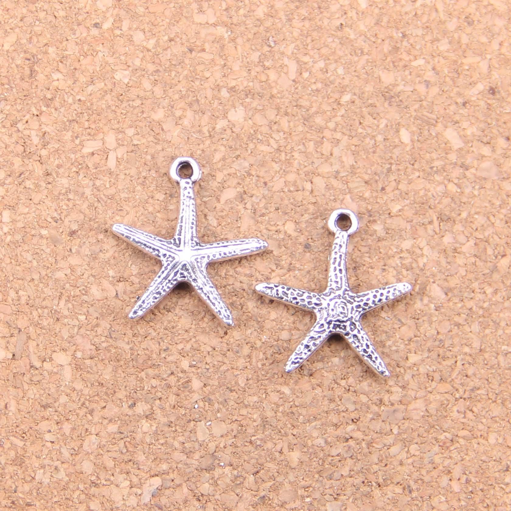 10 x Tibetan Silver Starfish Sea Star Charms Pendants Beads 26x23mm