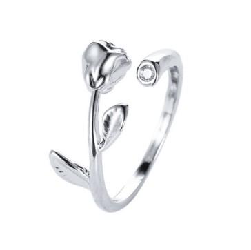 und Weisefrauen-Schmucksache-Silber überzogener Blatt-Finger-Ring 1A  X Art