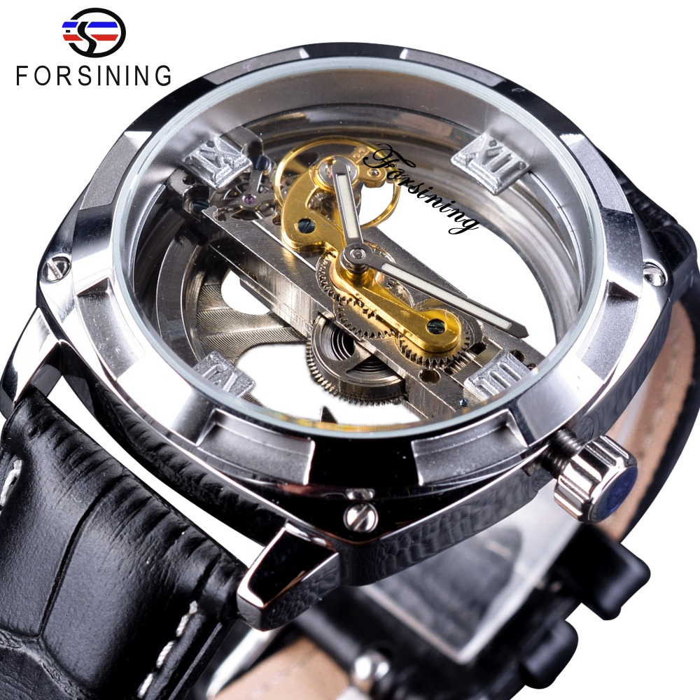 Forsining Official Exclusive Sale Double Side Transparent Fashion Business Design Skeleton Automatic Men Watch Top Brand Luxury