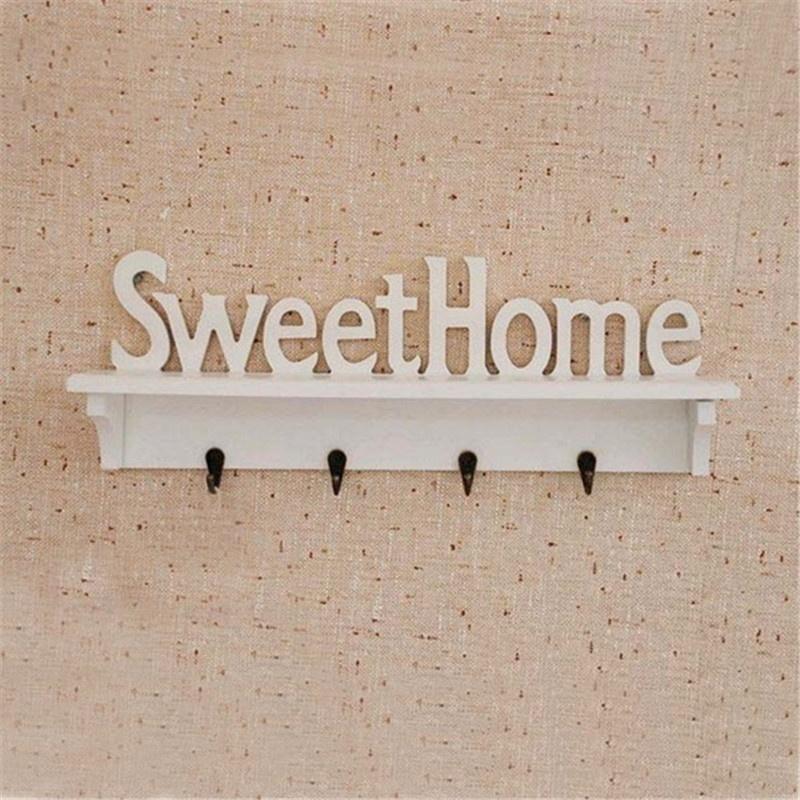 """sweet Home"" Shelves Hat Key Holders 4 Hooks Storage Shelf Hanging Hooks Wall Mounted Rack Home Holder Storage Hanger Home SH190709"