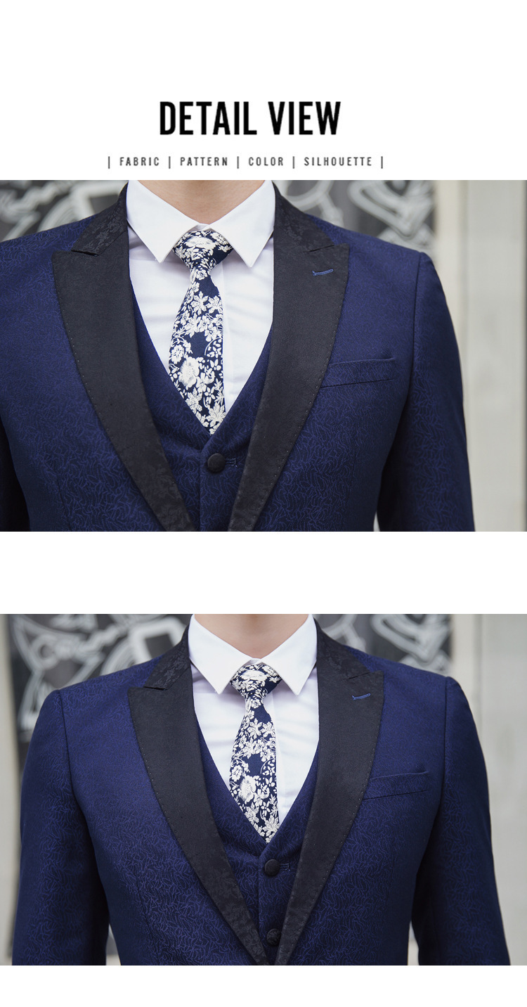 Pyjtrl Wedding Groom Groomsman Navy Blue Floral Pattern Three-piece Suits England Style Costume Homme Suit Men Jacket Pants Vest
