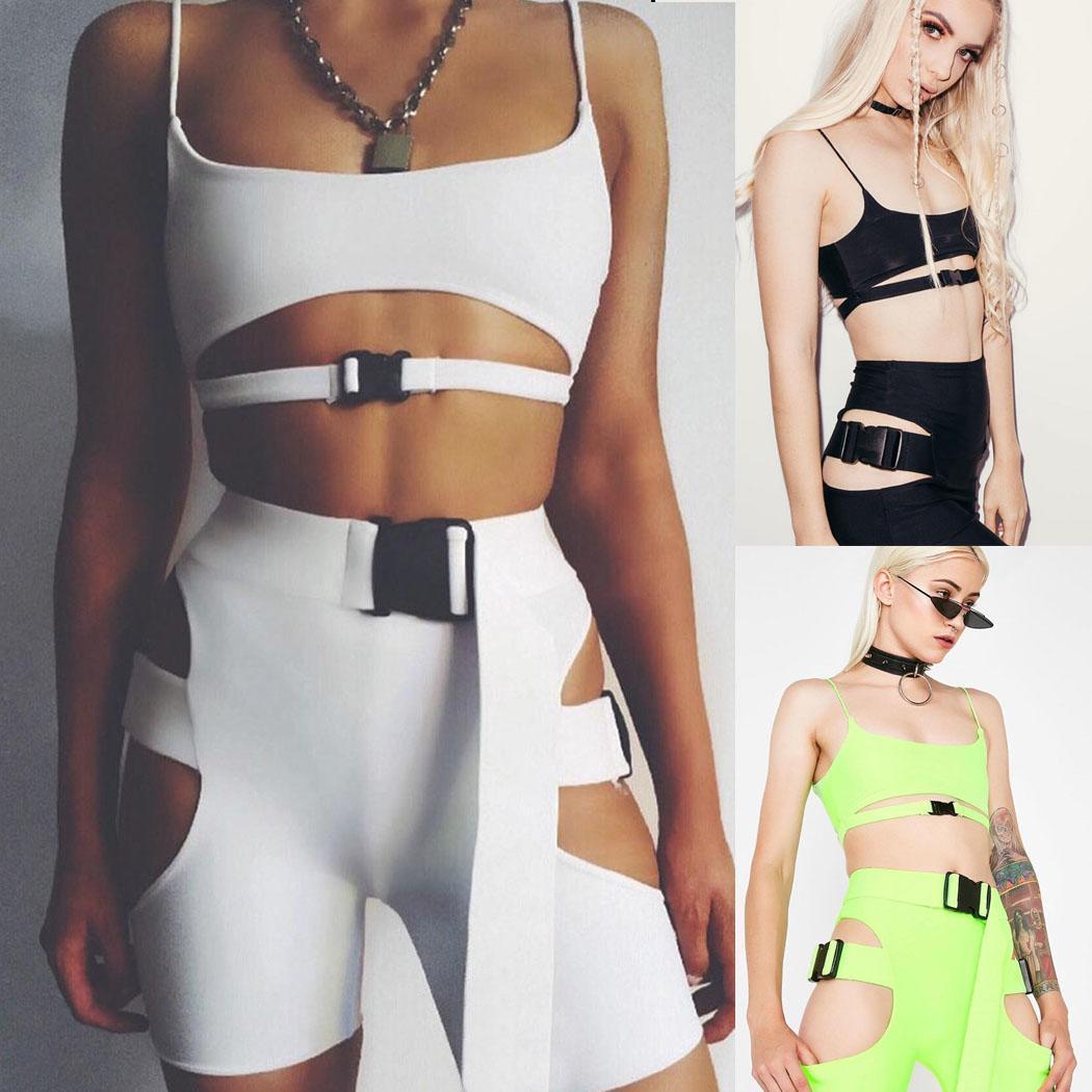 Nueva Moda 2 UNIDS Mujeres Casual Sin Mangas Crop Top Hebilla Trajes Deportivos Conjuntos Conjuntos Moda Nueva Mujer Trajes Deportivos Set