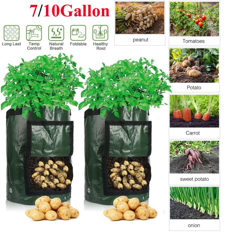 7//10 Gallon de pommes de terre Grow JARDINIERE PE Plantation Récipient Sac légumes jardinage Sac