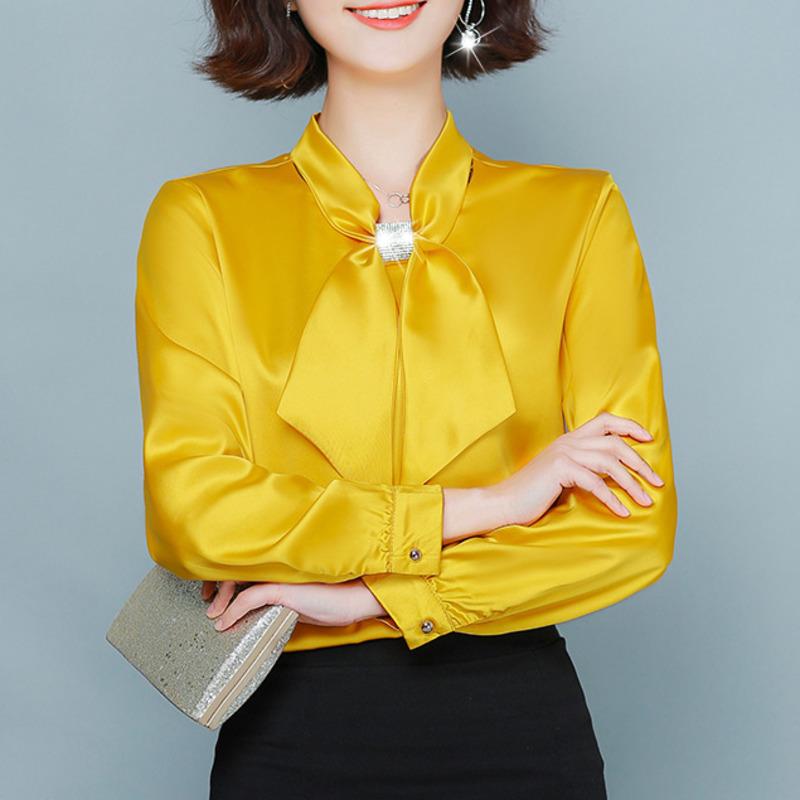 Vente en gros Chemise En Soie Jaune Pour Femme 2020 en vrac