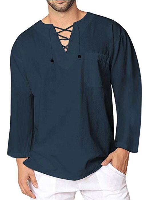 OcEaN Mens Tops Mens T-Shirt Summer Solid Thai Hippie Shirt V-Neck Beach Yoga Top Blouse