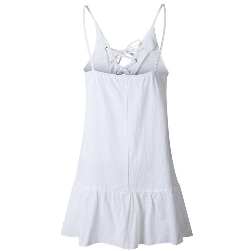 Elegant Lace Up V-neck Loose Cotton Dress Women Summer Sexy Low Back Green Mini Dresses Beach Sundresses Robe Femme 2019