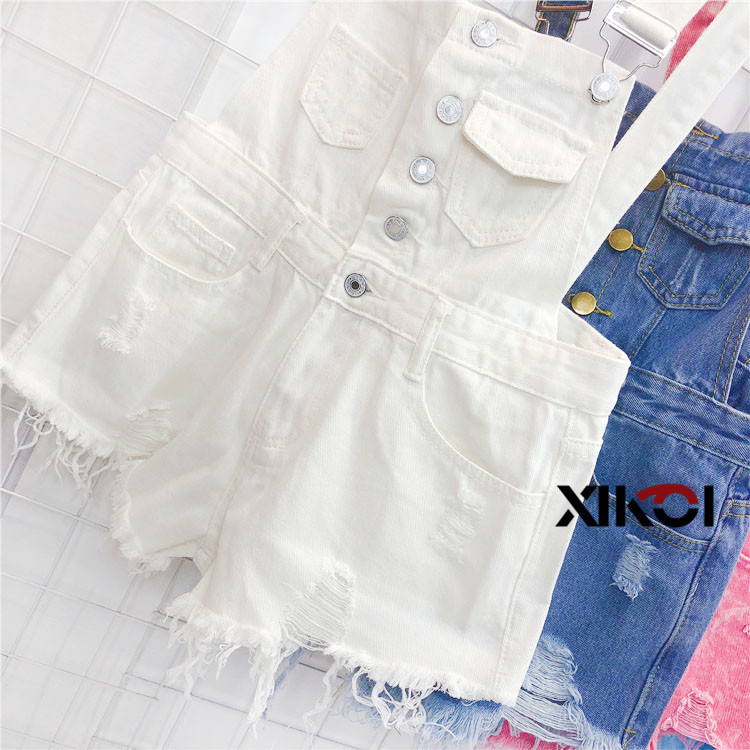 2018 Fashion Denim Bibs Schoolgirl Spring Summer New Loose Korean Thin Hole Burst Fringe Shorts There is a large yard (2)