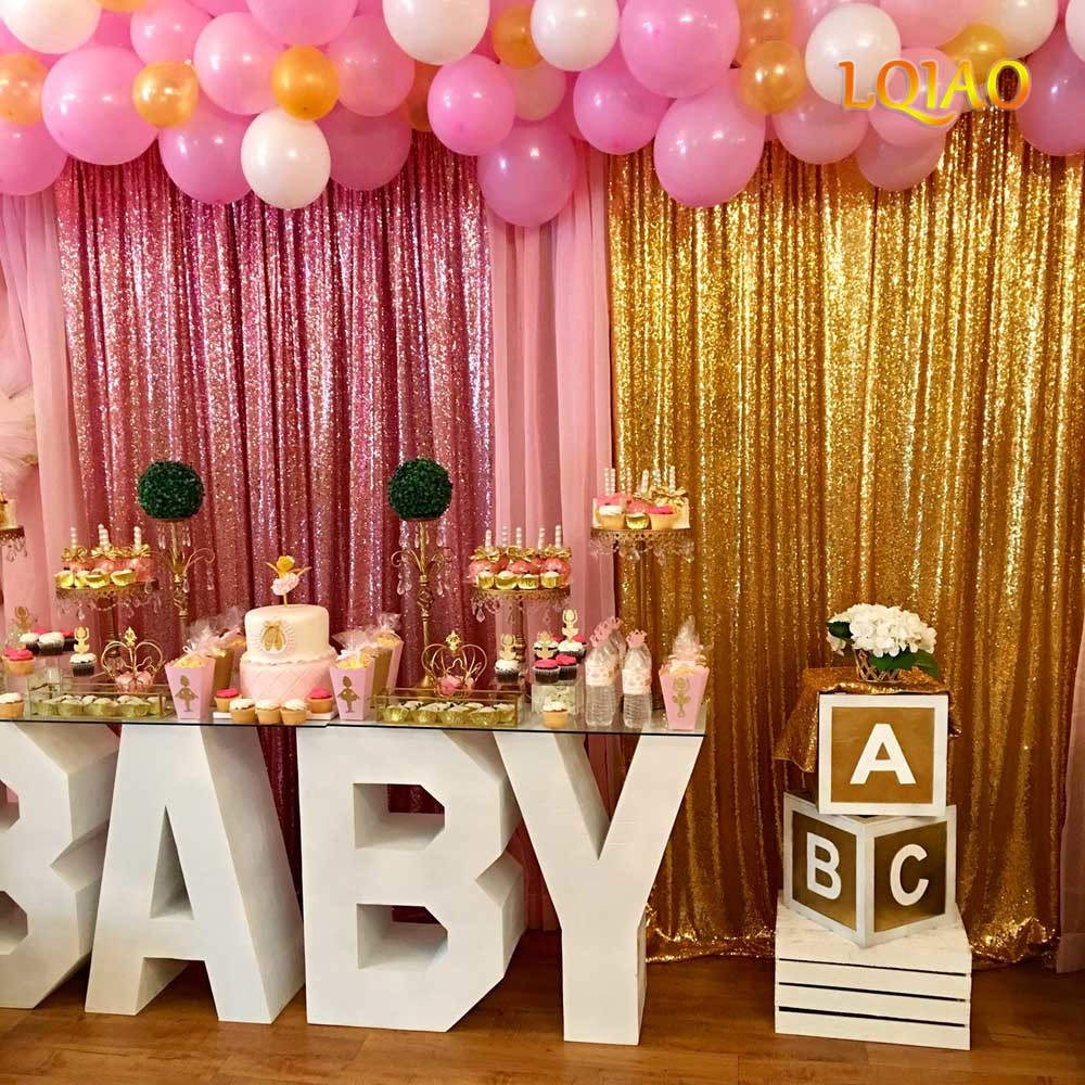 Rose Gold Fuchsia Pink Gold sequin Backdrop 003