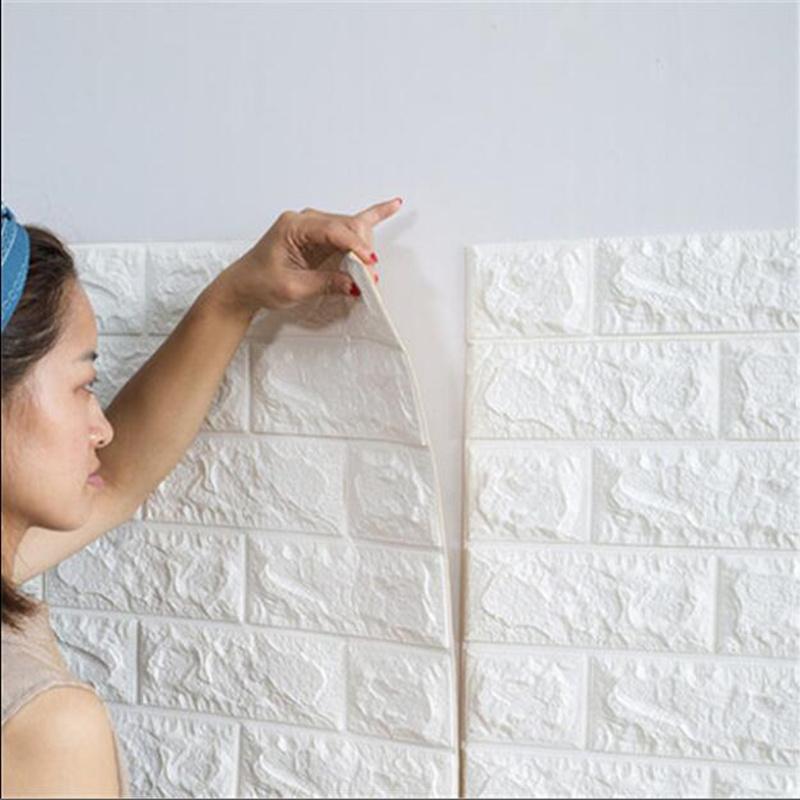 10 piezas 30x60cm Papel pintado de la espuma 3D DIY Wall Stickers Decoraci/ón de la pared Piedra de ladrillo en relieve Pared Autoadhesivo Panel Pared Impermeable del hogar DIY Decoraci/ón Blanco