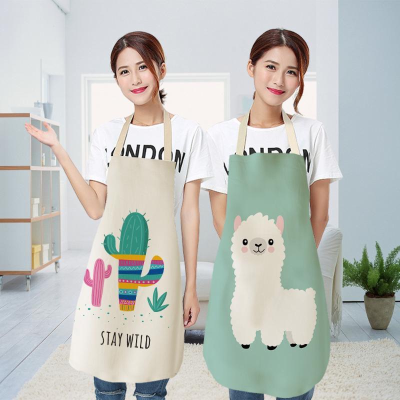 Waterproof Cute Alpaca Printed Cotton Linen Apron Kitchen Cooking Bib Aprons