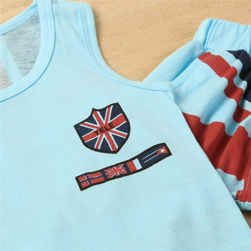 2PCS Boys Sets Kids Baby Boys Union Jack Print Sleeveless Vest Tops+Print Shorts Set Boys Clothes Suit For 2-6T Baby M8Y09 (3)