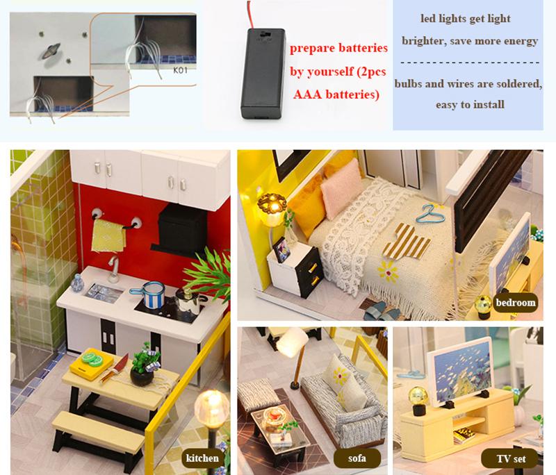 3D DIY Miniature Dollhouse Loft Building Model Wooden Handmade Dollhouses Assemble Kits Doll House with Furnitures Toys (3)