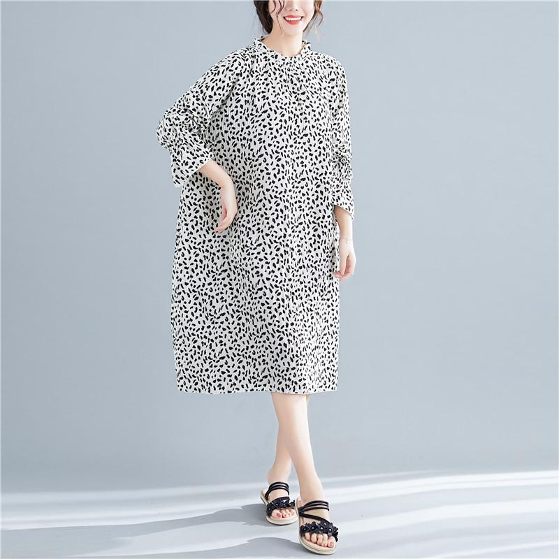 Herbst über Größe Frauen Shirt Kleid Leopardenmuster O Hals dünne Midi Kleid 2019 lose Plus Size Frauen Kleid