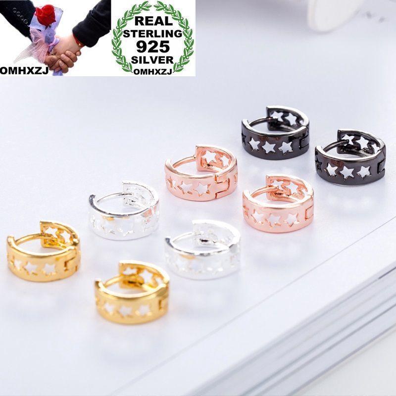 OMHXZJ Wholesale Personality Fashion OL Woman Girl Party Wedding Star Hollowed 925 Sterling Silver Hoop Earrings YE410