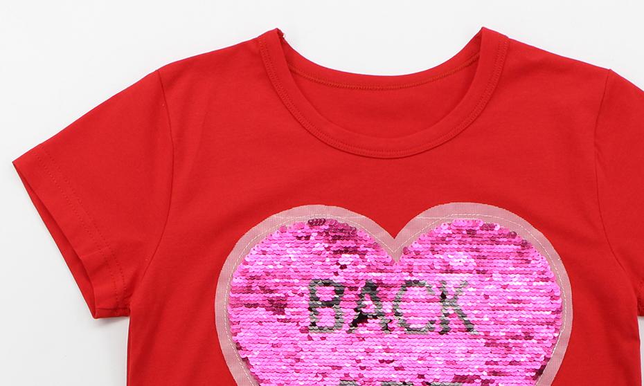 2bffd4820 Compre Camisetas Para Niñas Lentejuelas En Forma De Corazón Camiseta ...